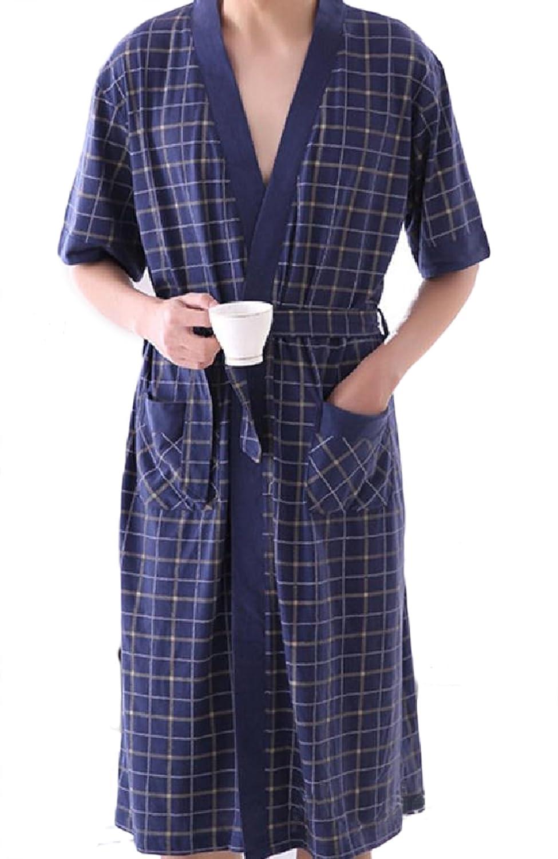 YUNY Mens Cotton Mid Long Plus-Size Plaid Stylish Wrap Robe