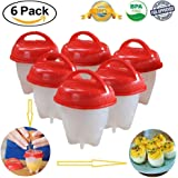 Egg Cooker,6 Pieces Cooker Egg Poachers Egg Boiling Tool Egg Cooking Molds Hard Soft Maker, No Shell