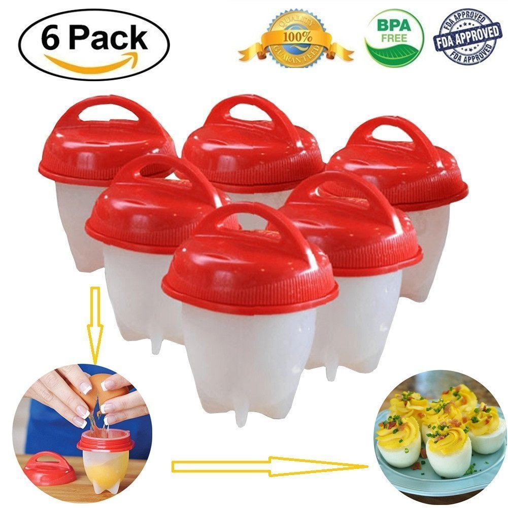 Hilai Egglettes Egg Cooker -6 Pieces Egg Cooking Molds Egg Cooker Hard Soft Maker, No Shell