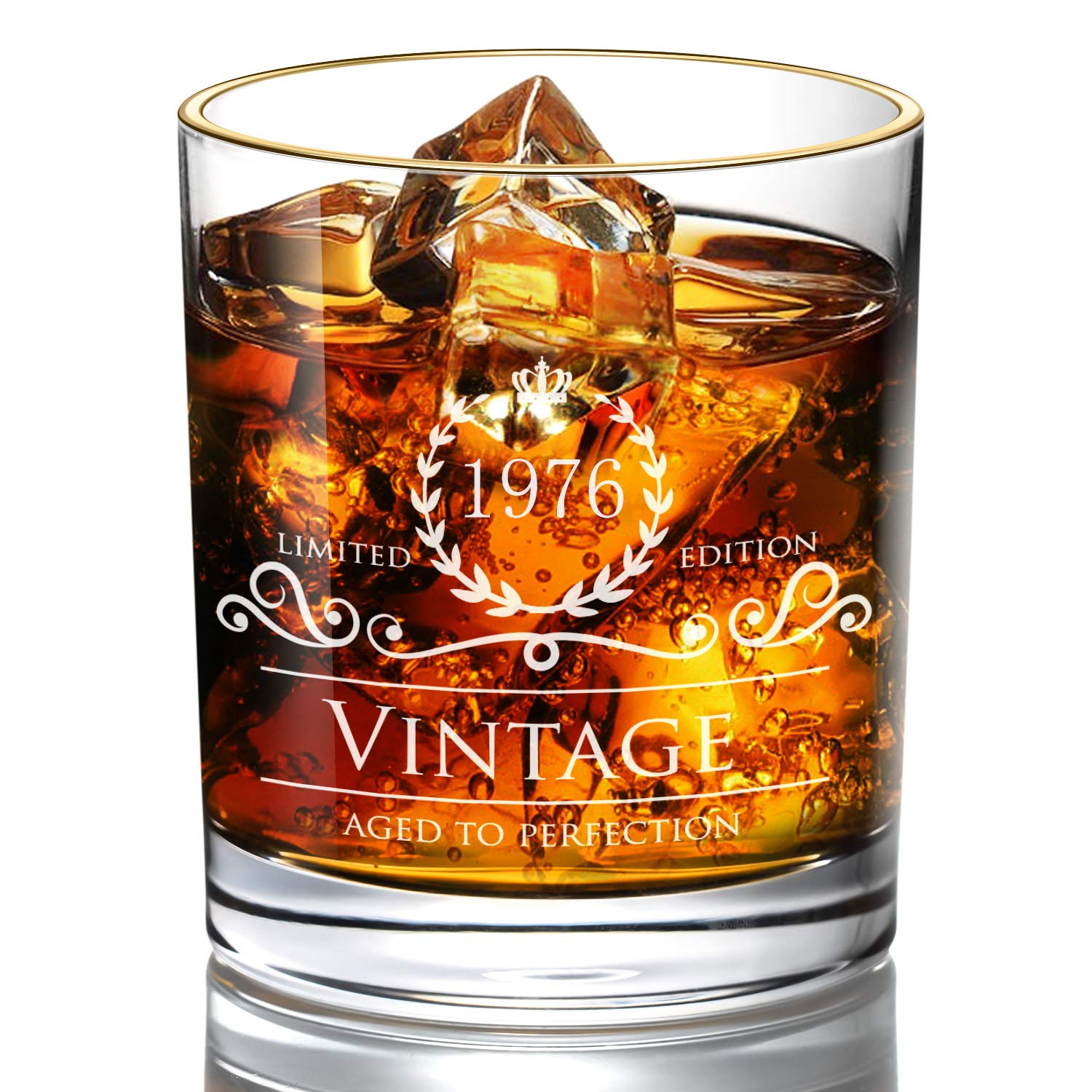 Birthday 24K Gold Whiskey Glass Vintage 1963 Aged to Perfection Engraved • 10oz Rocks Glass • Great Gift for Father • Grandfather • Husband • Son • Friend (1943) Lovinpro