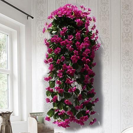 Plantas artificiales Hctina hojas del árbol falso Jardín Colgante decoraciones de flores que cuelgan flores púrpura: Amazon.es: Hogar