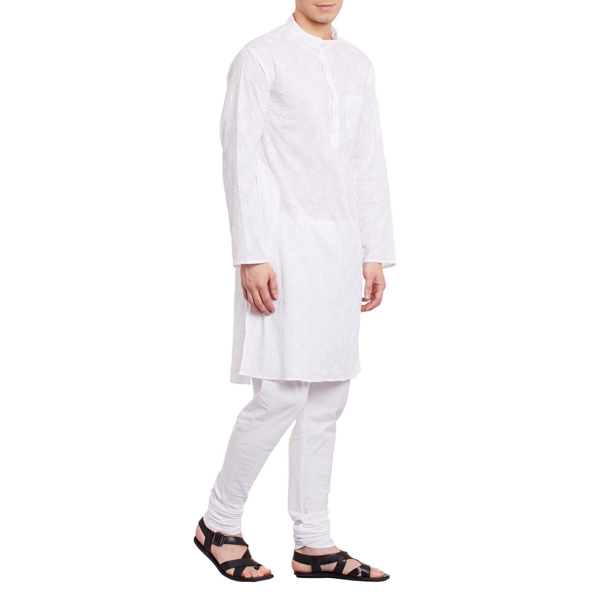 ShalinIndia Mens Embroidered Cutwork Cotton Kurta With Churidar Pajama Trousers Machine Embroidery,White Chest Size: 42 Inch by ShalinIndia (Image #4)