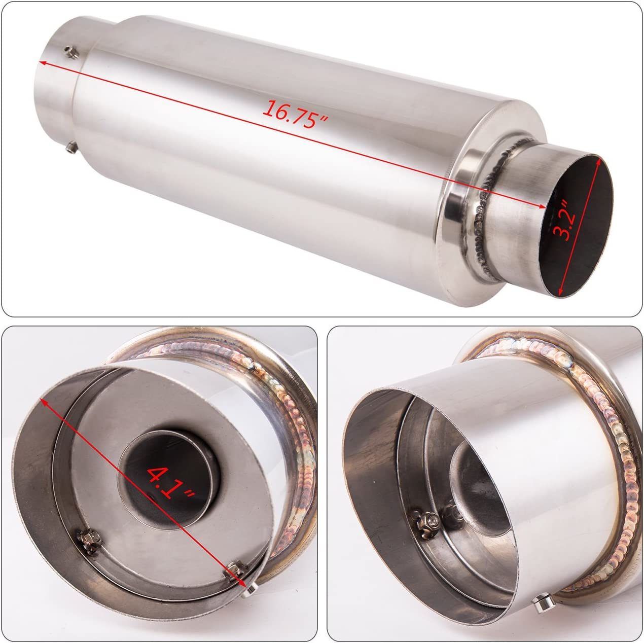 AJP Distributors Universal Fireball N1 4 4 Inch Slant Tip 3 Inlet Pipe Piping Muffler Exhaust Stainless Steel Upgrade Racing Track Drag Sport