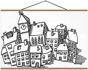TinYida Town Buildings Drawing Village,Decor Posters Black and White for Bedroom 16X12In