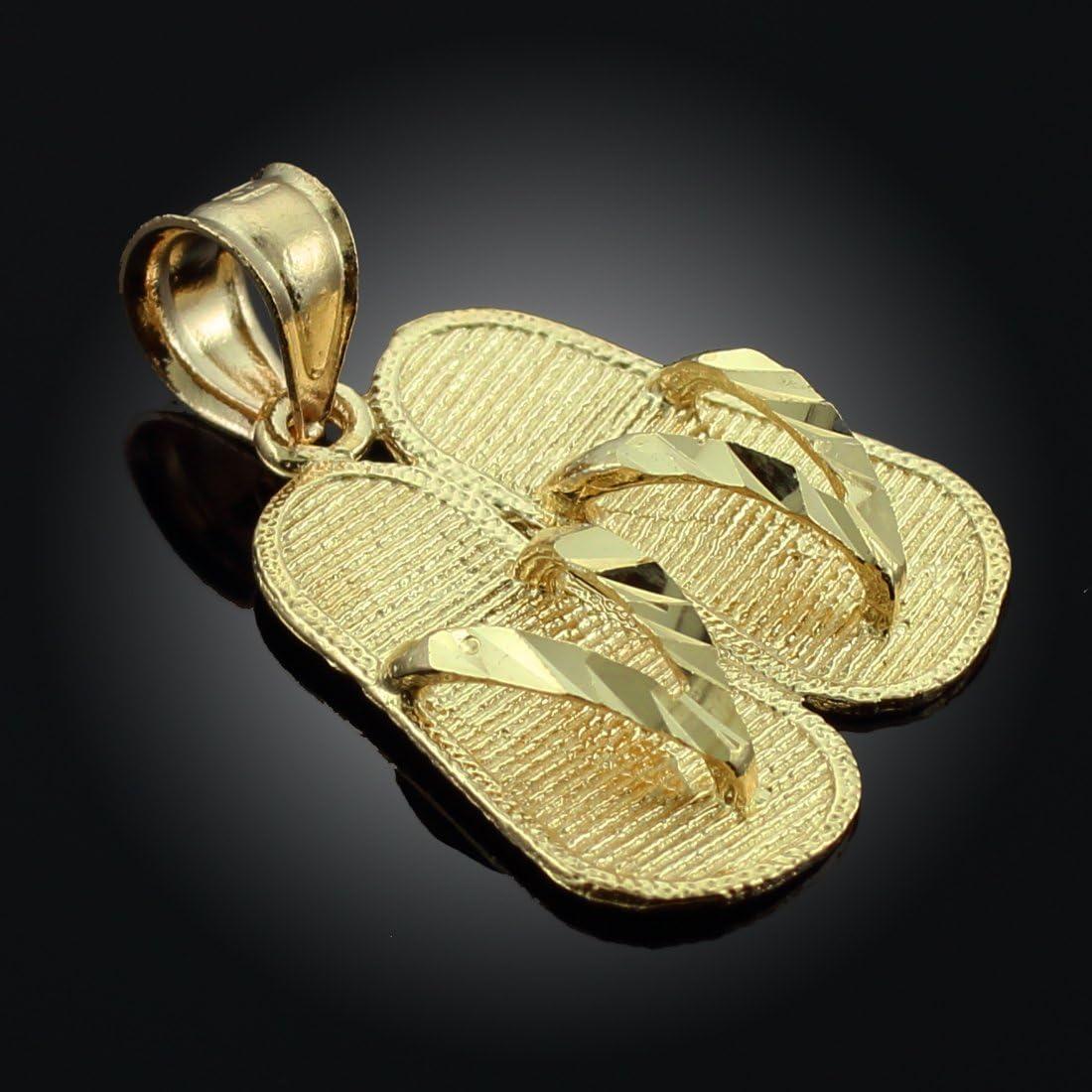 Solid 14k Yellow Gold Key West Flip Flop Sandals Charm Souvenir Pendant 18mm x 5mm