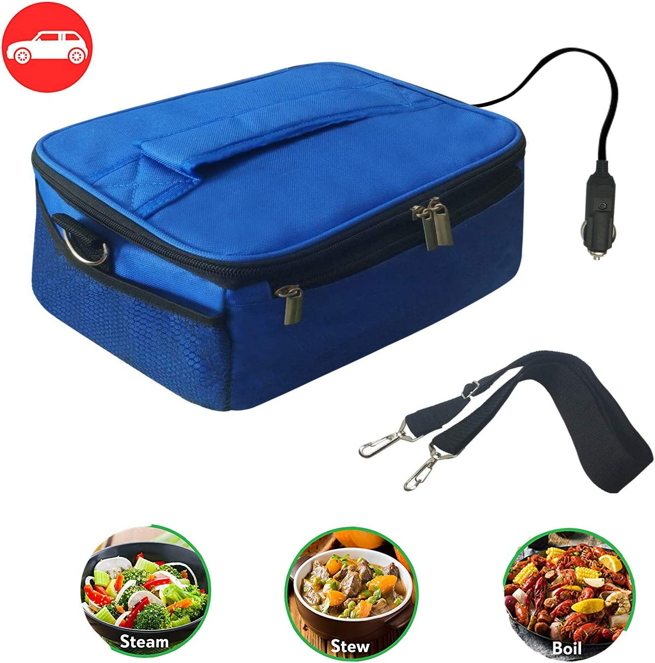 Portable Oven 12V Personal Food Warmer for Prepared Meals Lunch Warmer Reheating at work For Driving, Food Warmer with Lunch Bag for Car 12V Car Oven Portable(Blue)
