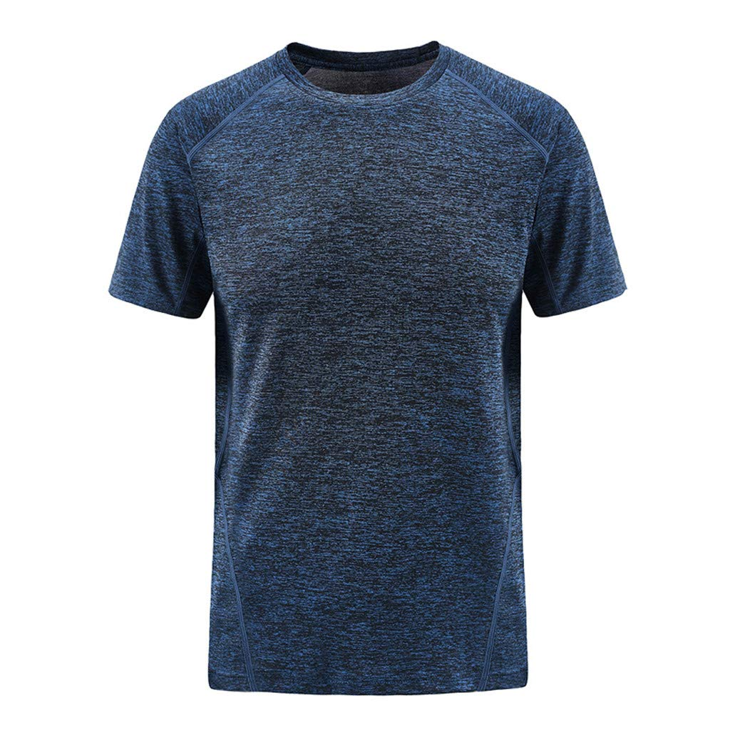 Kamao Tops Blouse,Mens Summer Casual O-Neck T-Shirt Fitness Sport Fast-Dry Breathable Top Blouse