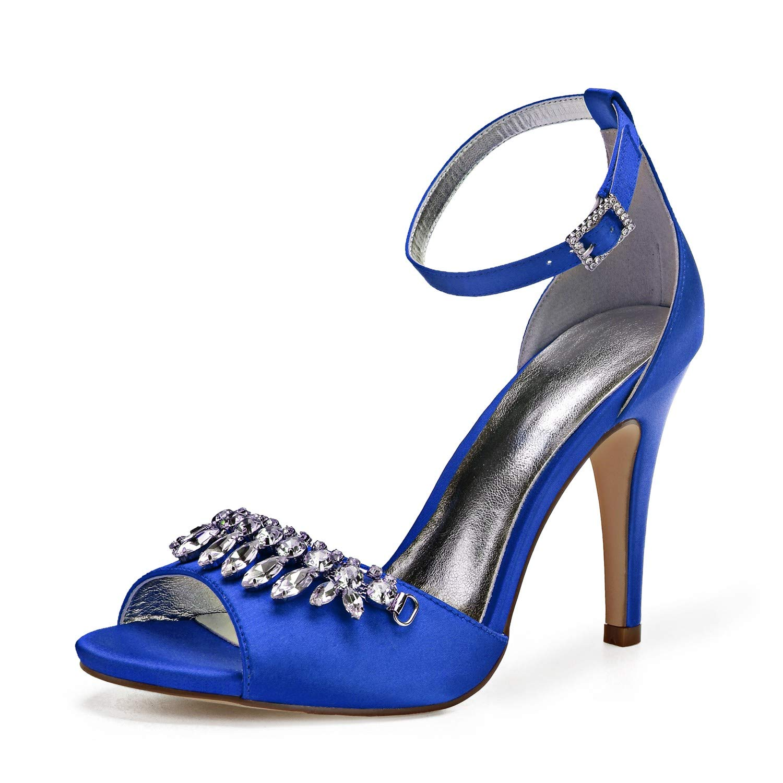 Zxstz Chaussures de soirée Mariage en Satin de Mariage soirée Estival Printemps Talon Aiguille 41|Blue 349707