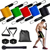 Tobeape Resistance Exercise Band Set Includes 5 Stackable Exercise Bands with Handles, Carry Bag, Ankle Straps and Door Anchor Accessory