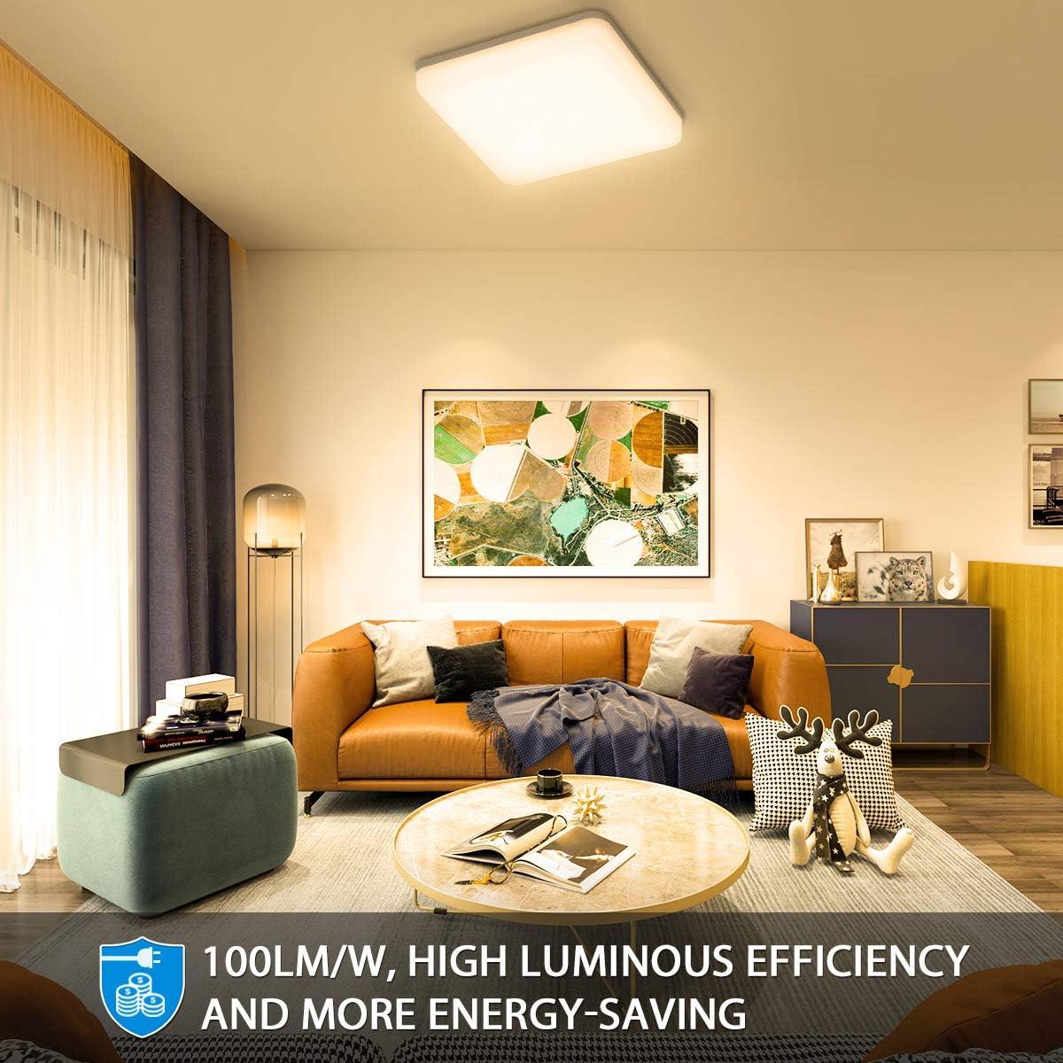 Kinderzimmerlampe Oeegoo LED Deckenleuchte Warmwei/ß Essenzimmerlampe IP44 Wasserdicht LED Deckenleuchte Schlafzimmerlampe Badlampe 3000K 24W 2400LM Led Deckenlampe Bad K/üchenlampe