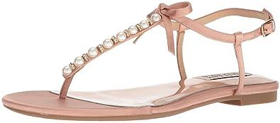 9b2fbd0274b57 Badgley Mischka Women s Honey Flat Sandal Dark Pink 5 ...