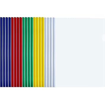 20 Piezas de Carpeta de Barra Deslizante A4 Carpeta Cubiertas de Informe Transparentes para Clasificación de Documentos (Barra Deslizante de Multicolor): ...