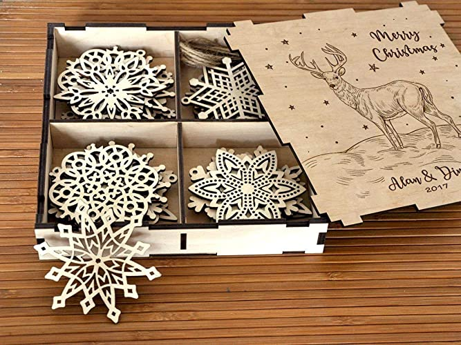 Personalized Christmas Gift Wooden Christmas Ornament Rustic Christmas Snowflake Set of 8-24 Christmas Decoration Deer Christmas Gift for Couple Family ...  sc 1 st  Amazon.com & Amazon.com: Personalized Christmas Gift Wooden Christmas Ornament ...