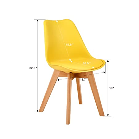 LSSBOUGHT Set of 2 Eames-Style Soft Padded Seat Dining Chairs with Solid Wooden Legs Yellow