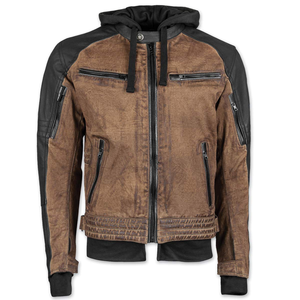 Speed and Strength Straight Savage Leather-Canvas Men's Street Motorcycle Jacket - Brown/Black / Medium