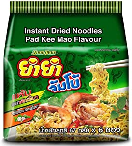 YUMYUM JUMBO Instant Dried Noodles/Pad Kee Mao Flavor / 67 gram X 6 Packs