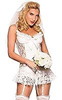 KOOLEE Sexy Bride Costume - White Bride Fancy Dress Costume Fantasy Women Bridal Dress