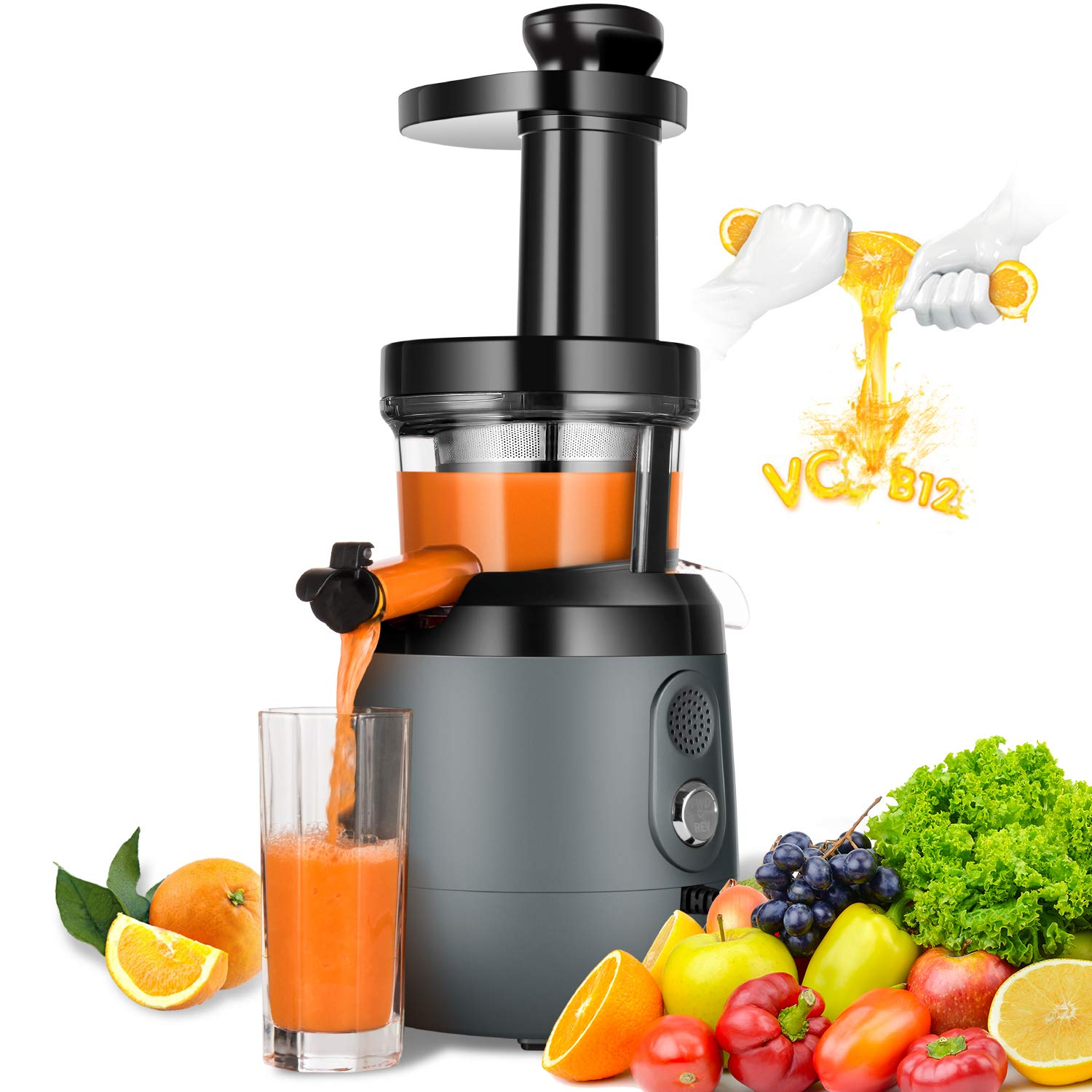 Slow Masticating Juicer Extractor, HAYKE Cold Press Juicer Machine for Higher Nutrient Fruit and Vegetable Juice, Extreme Quiet Motor & Reverse Function, Easy to Clean, BPA-Free