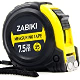 Zabiki Measuring Tape Measure, 25 Ft Decimal Retractable Dual Side Ruler with Metric and Inches, Easy to Read, for Surveyors,