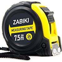 Zabiki Measuring Tape Measure, 25 Ft Easy to Read Decimal Retractable Dual Side Ruler with Metric and Inches, for Surveyors, Engineers and Electricians, with Magnetic Tip and Rubber Protective Casing