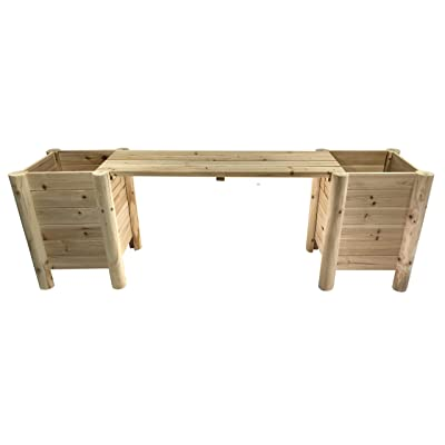 Boldly Growing Raised Planter Bench - Elevated Outdoor Patio Herb Garden Kit to Grow Herbs and Vegetables : Garden & Outdoor
