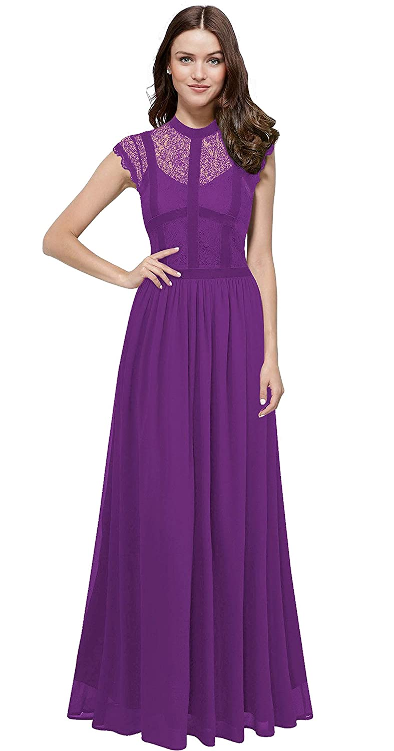 Dark Purple VaniaDress Women Elegant Lace Sheer Neck Long Bridesmaid Dress Prom Gowns V286LF