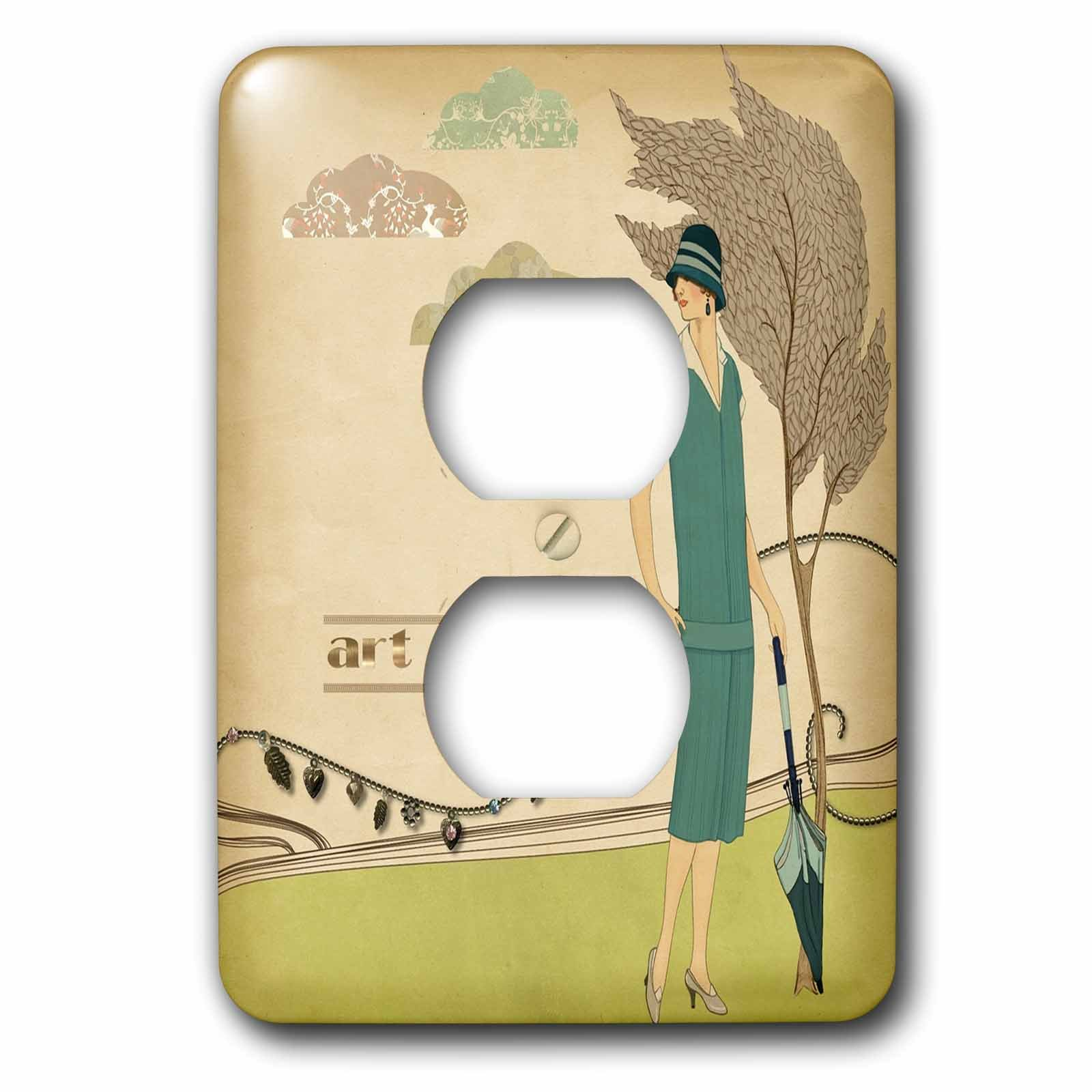 3dRose Art Deco - Image of Lady In Teal Dress With Gold Words Art Deco - Light Switch Covers - 2 plug outlet cover (lsp_281612_6)
