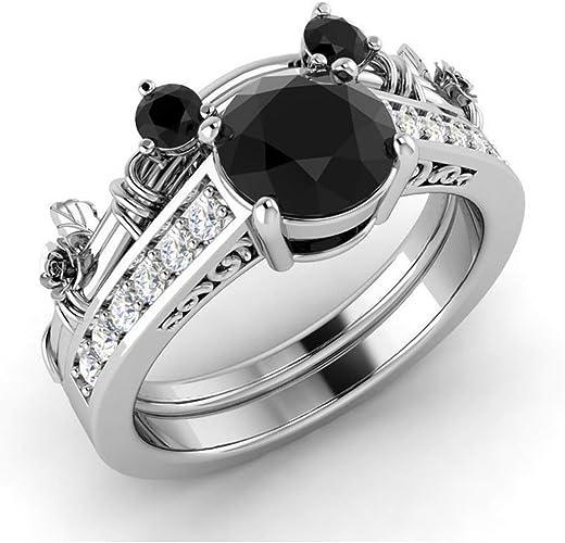 Black Diamond 925 sterling silver wedding bridal ring Set round cut white Diamond 14k White Gold Finish Engagement Wedding ring Set