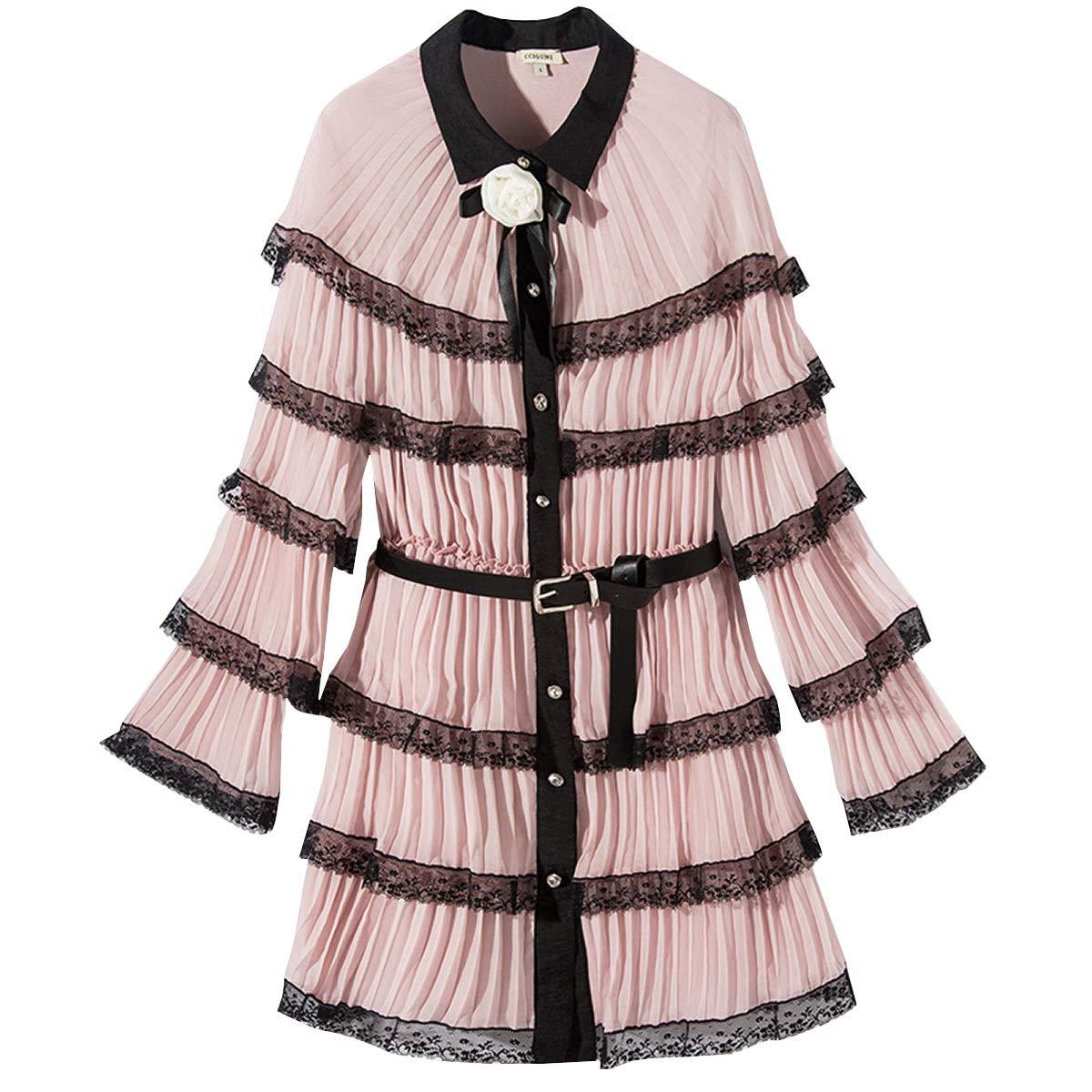 DISSA YDL4180 Damen 2019 Italienischer Designer Plissee Kleider Spitze Midi Kleider Langarm Kleider