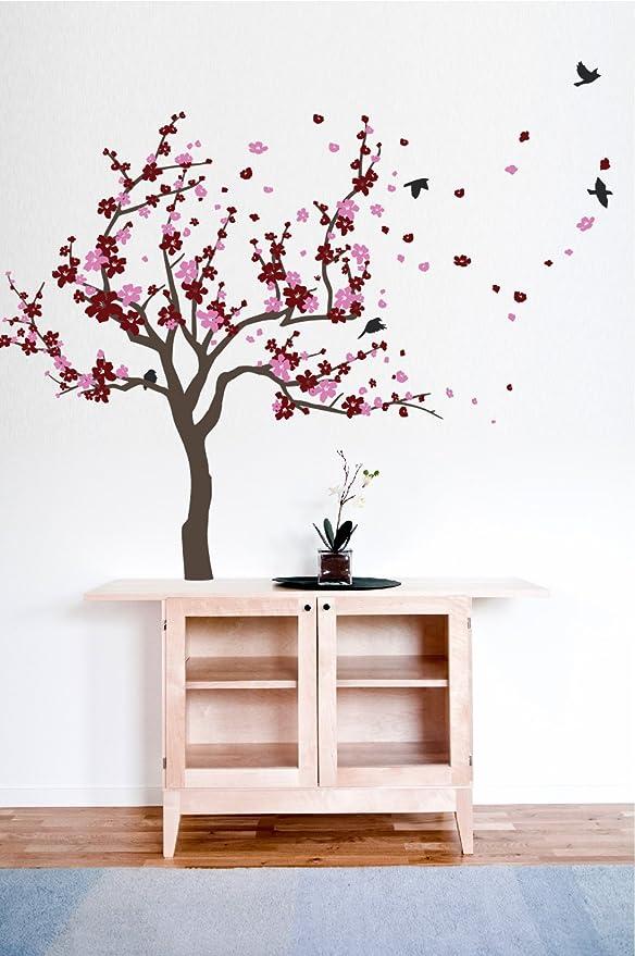 White Blossom Tree Branch Bird Wall Art Stickers Cherry Decals Mural Decor Home