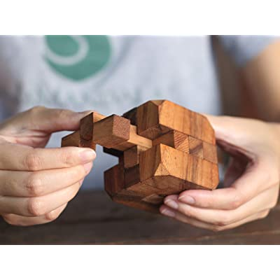Hidden Passage: Handmade & Organic 3D Brain Teaser Wooden Puzzle for Adults from SiamMandalay by Siam Mandalay: Juguetes y juegos