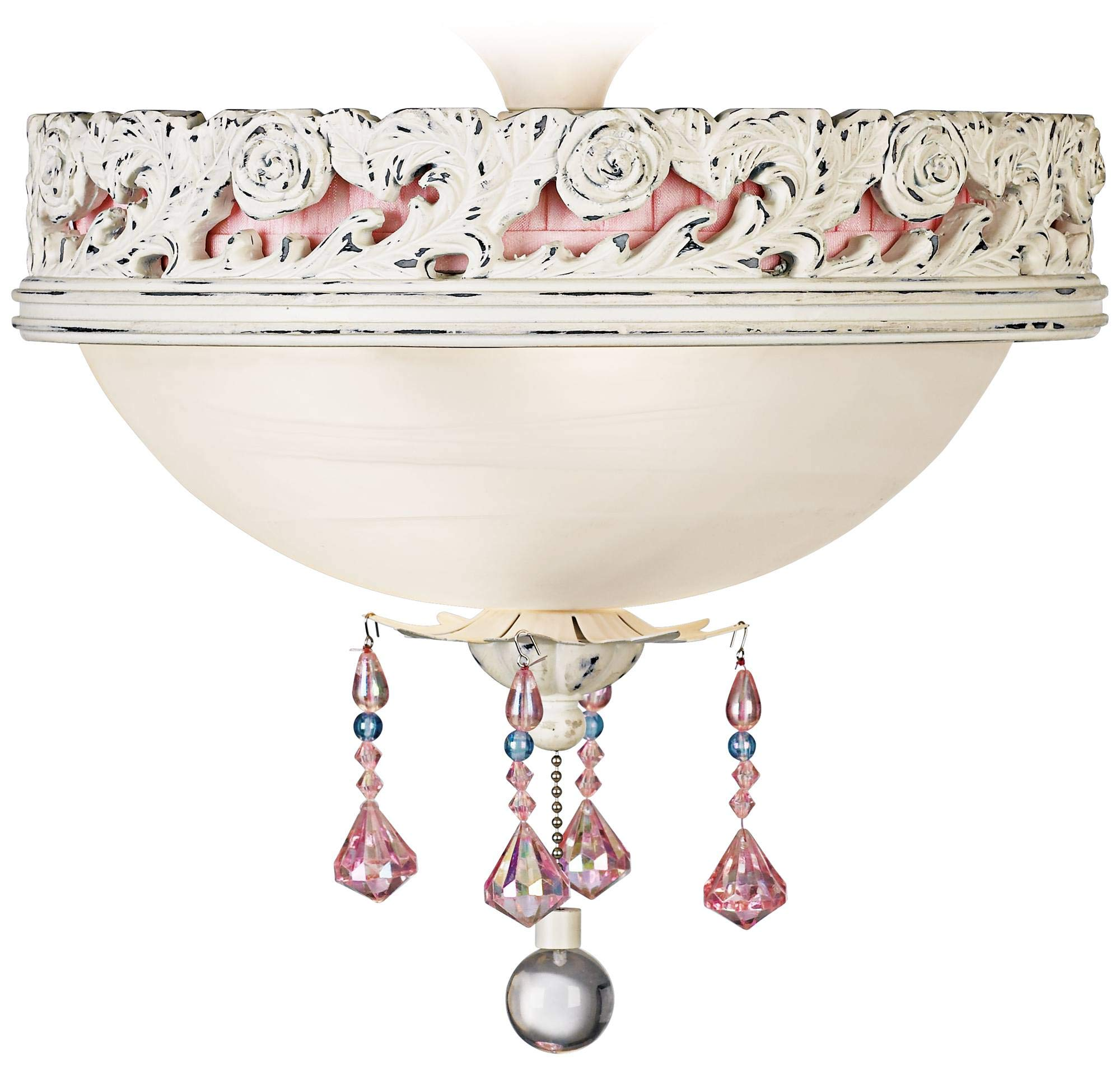 Pretty in Pink Pull Chain Ceiling Fan 2-Light LED Light Kit