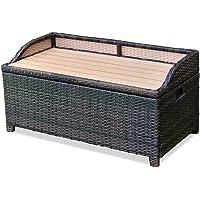 Brown Resin Wicker Storage Bin Bench Box Outdoor Pool Patio Furniture  Seating Storage