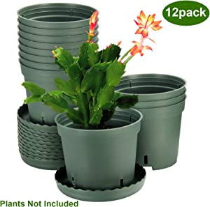 Plastic Pots for Plants, ZOUTOG 6 inch Plastic Planters with Drainage Hole, Pack of 12 - Plants not Included