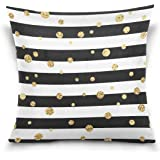ALAZA Gold Polka Dot Cotton Pillowcase 16 X 16 Inches Twin Sides, Black and White Stripe Pillow Case Sham Cover Protector Decorative for Home Hotel Couch Ded