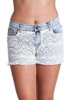 Ladies Crochet Embroidered Light Blue 5 Pocket Denim Shorts