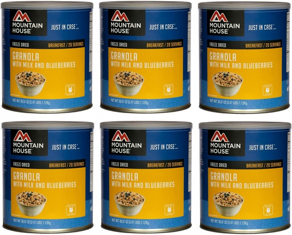 Mountain House Granola w/ Milk & Blueberries #10 Can Freeze Dried Food - 6 Cans Per Case