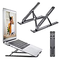 EXGOX Laptop Stand Foldable Portable Aluminum Desktop Laptop Notebook Holder 6-Levels Angles Adjustable Ergonomic Tray Mount Compatible with All Laptops/&Tablets