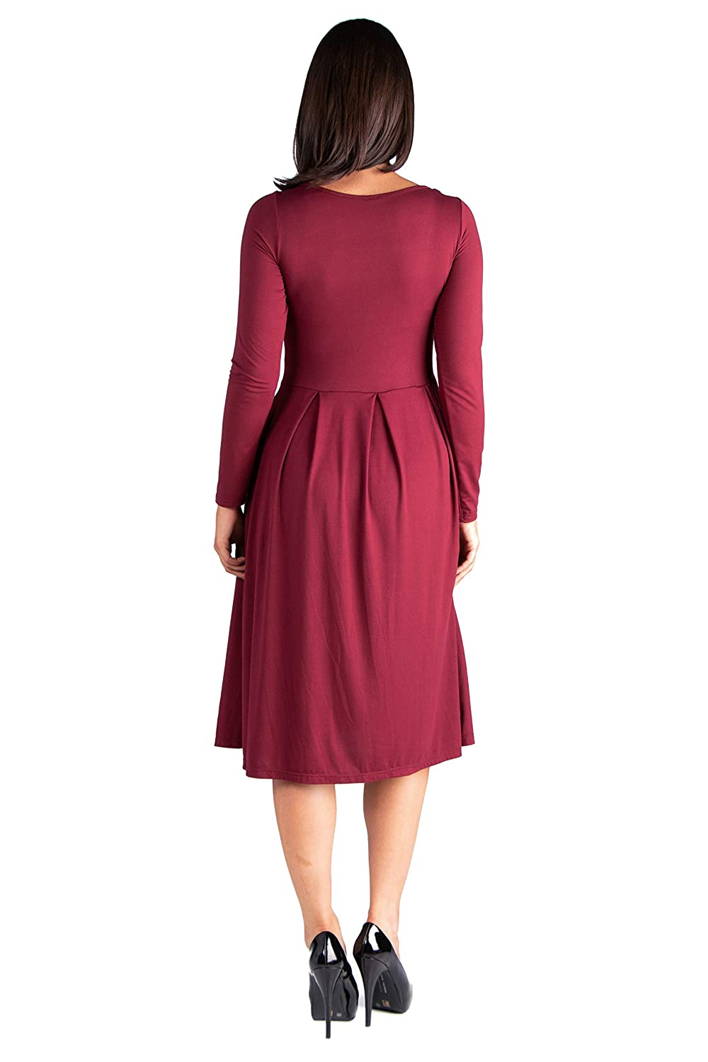 5546695432b 24seven Comfort Apparel Maternity Clothes for Women Long Sleeve Fit Flare Midi  Dress Pockets - Made in USA - (Sizes S-3XL) at Amazon Women s Clothing  store