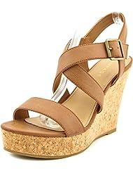 Rampage Happy Women Open Toe Synthetic Brown Wedge Sandal