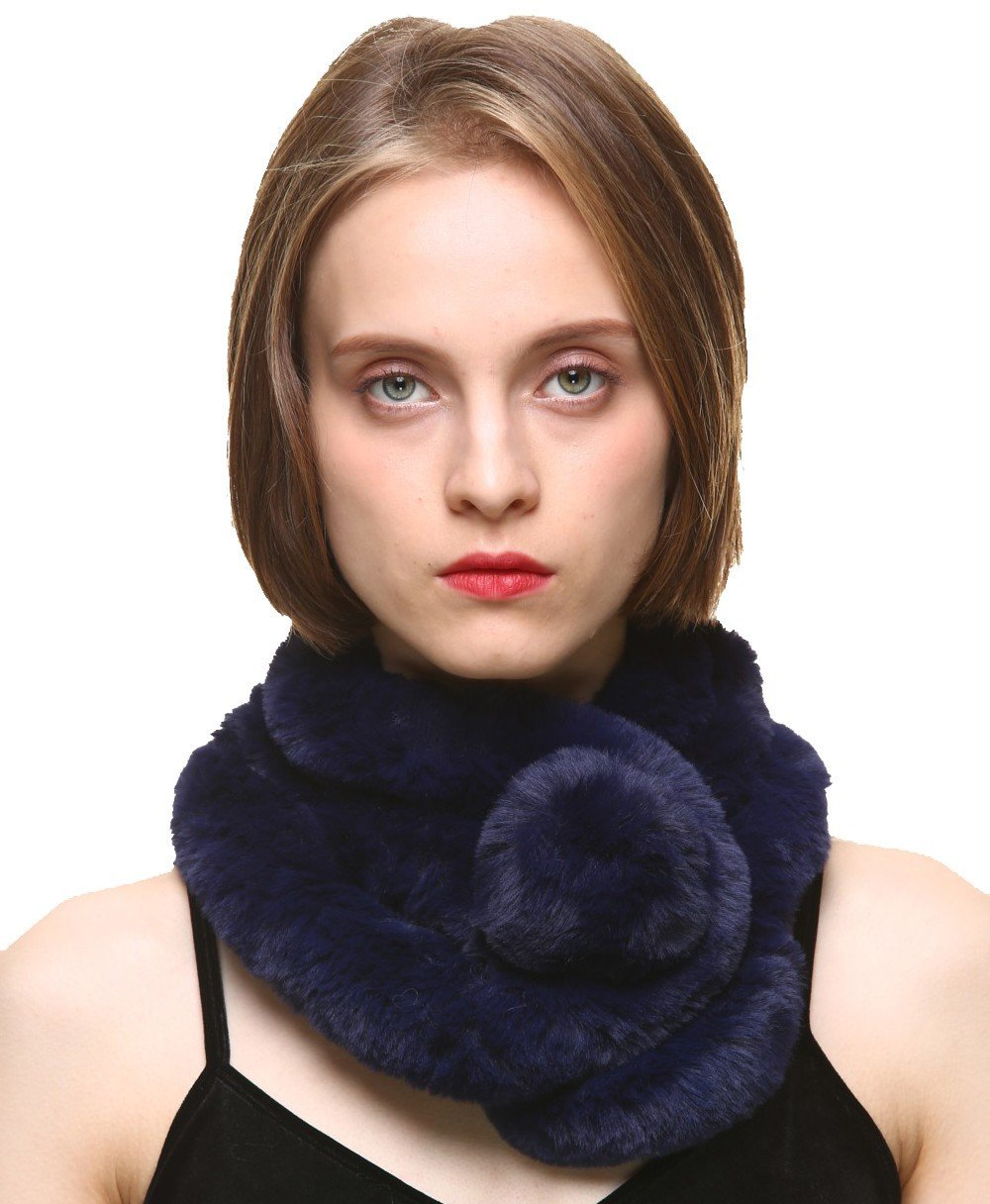 Vogueearth Women'Real Rabbit Fur Winter Warmer Wrap Scarf Nature Brown A80039AWCA-Nature Brown