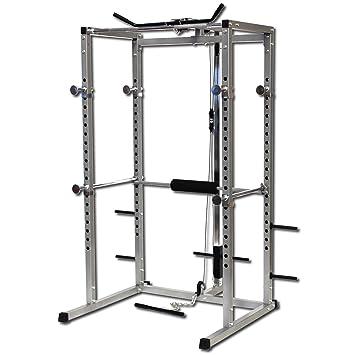Jaula de potencia de GYMANO, para sentadillas, polea alta para el dorsal, remos, curl de bíceps, plata: Amazon.es: Deportes y aire libre