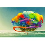Pitaara Box Abstract Tree With Colorful Smoke Peel & Stick Vinyl Wall Sticker Decal 26.8 X 18Inch