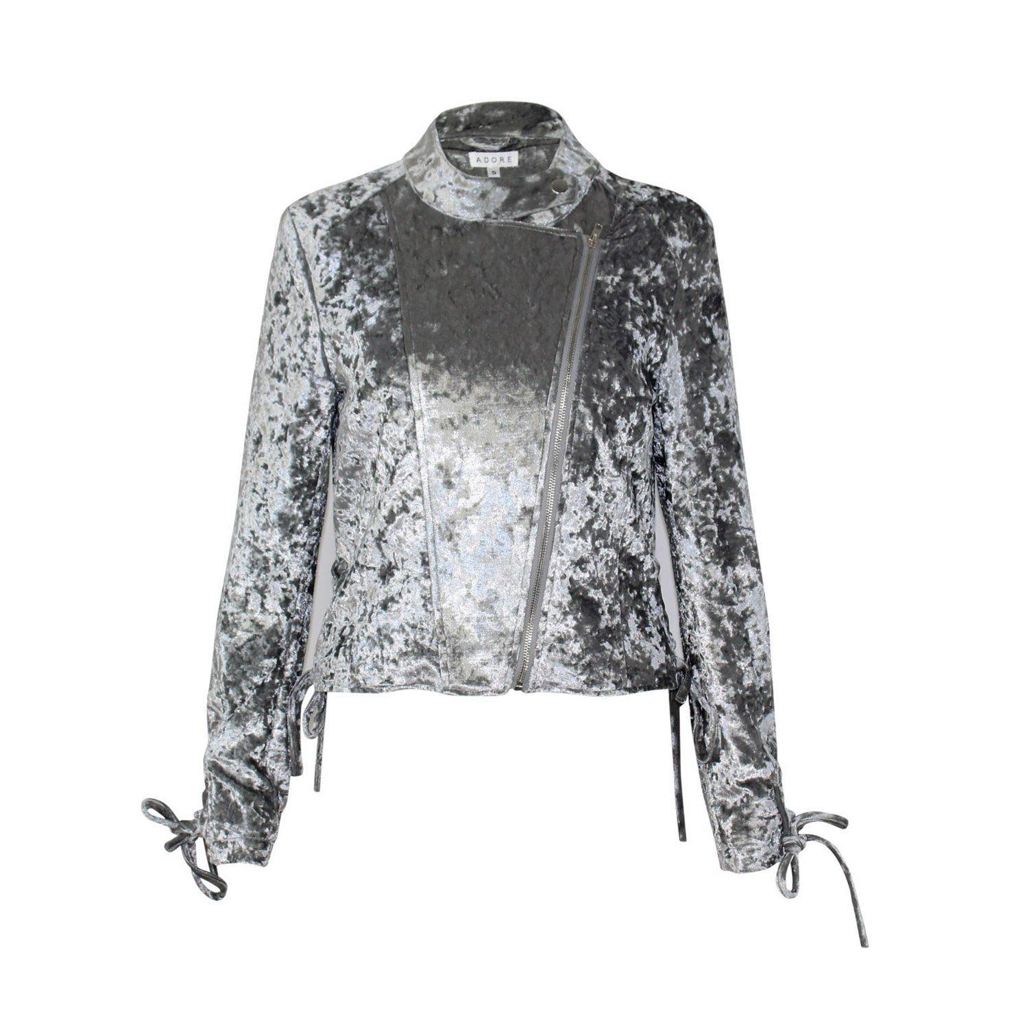 8826ef93ed29a Amazon.com  Adore Womens Crushed Velvet Moto Jacket Silver Small ...