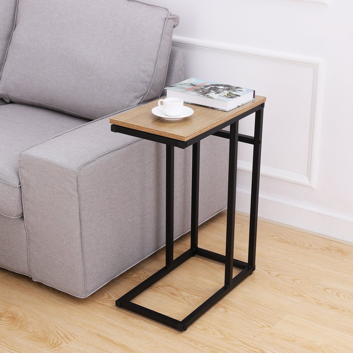 HOMEMAXS Sofa Side End Table C Table Small, Snack Table with Wood Finish and Steel Construction for Coffee, Snack, Tablet …