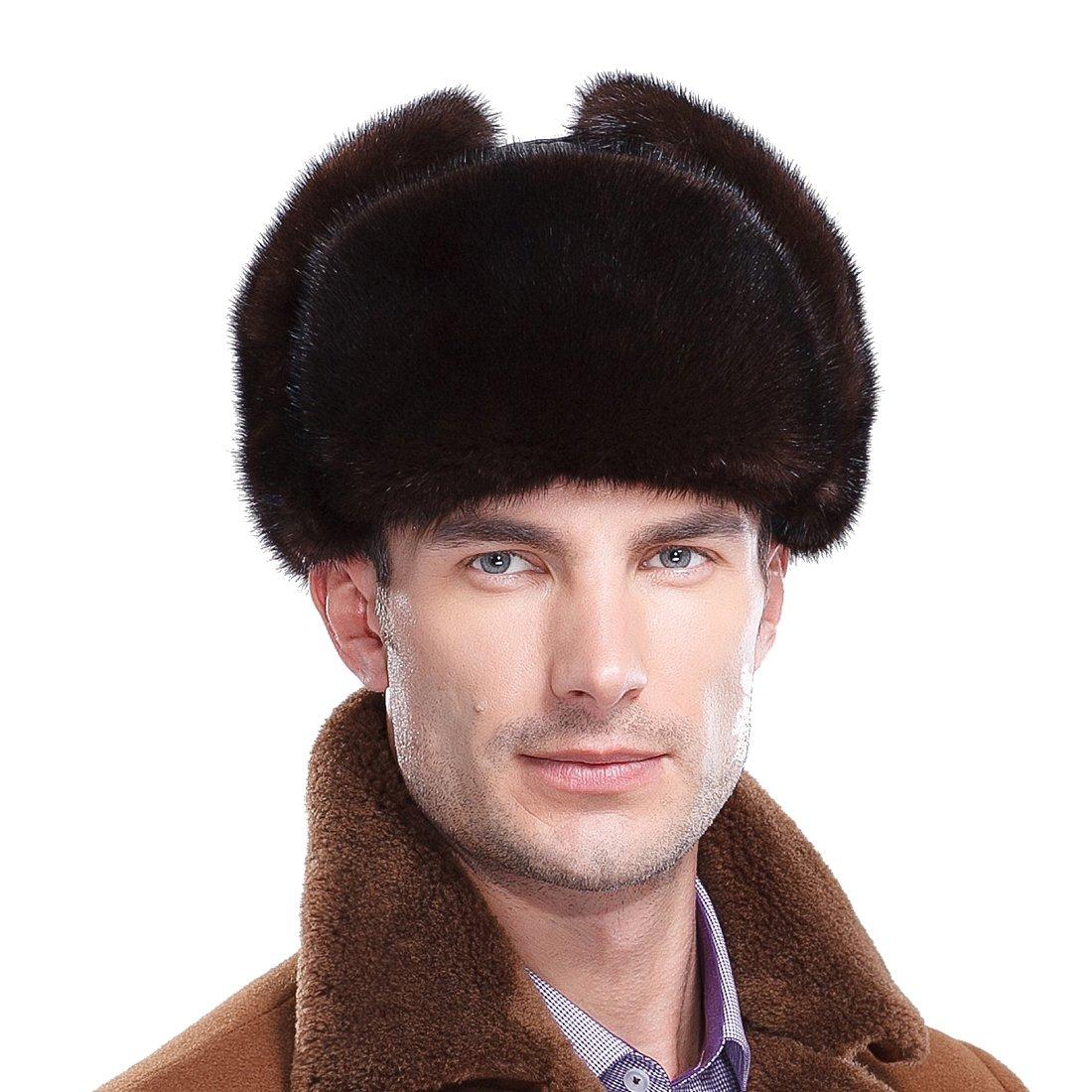 URSFUR Classic Men's Mink Fur & Leather Russian Ushanka Hats (One Size, Natural Color)