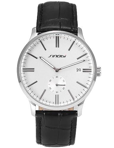 AMPM24 SNB093 Reloj Caballero Cuarzo Fecha de Cuero Negro: Amazon.es: Relojes