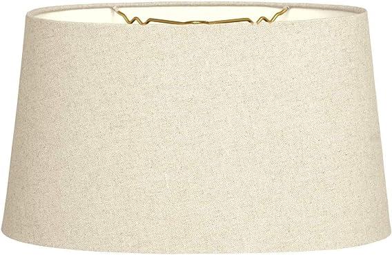 Royal Designs Shallow Oval Hardback Lamp Shade, Linen Beige, 16 x 18 x 9.5