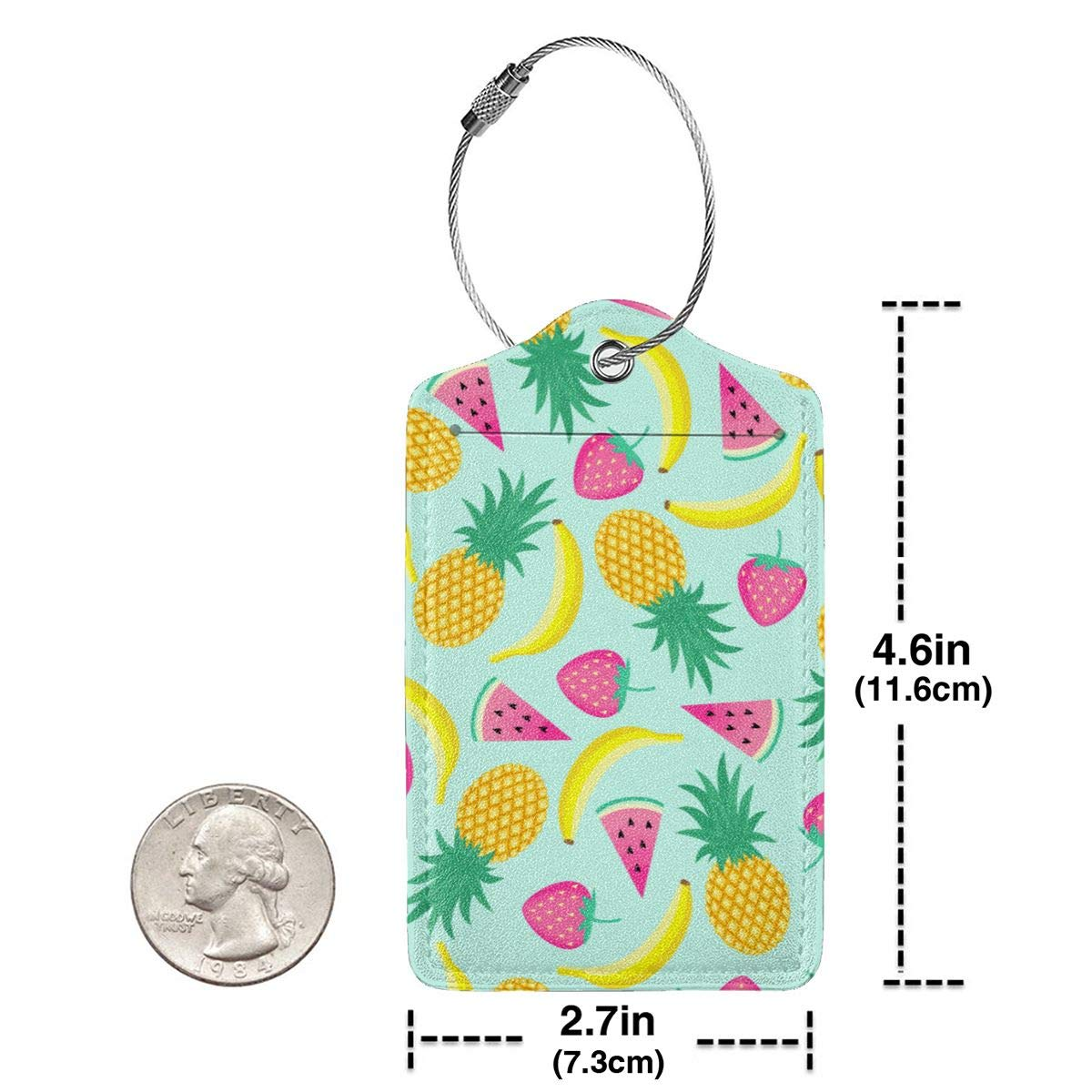 Fruit Mix Travel Luggage Tags With Full Privacy Cover Leather Case And Stainless Steel Loop