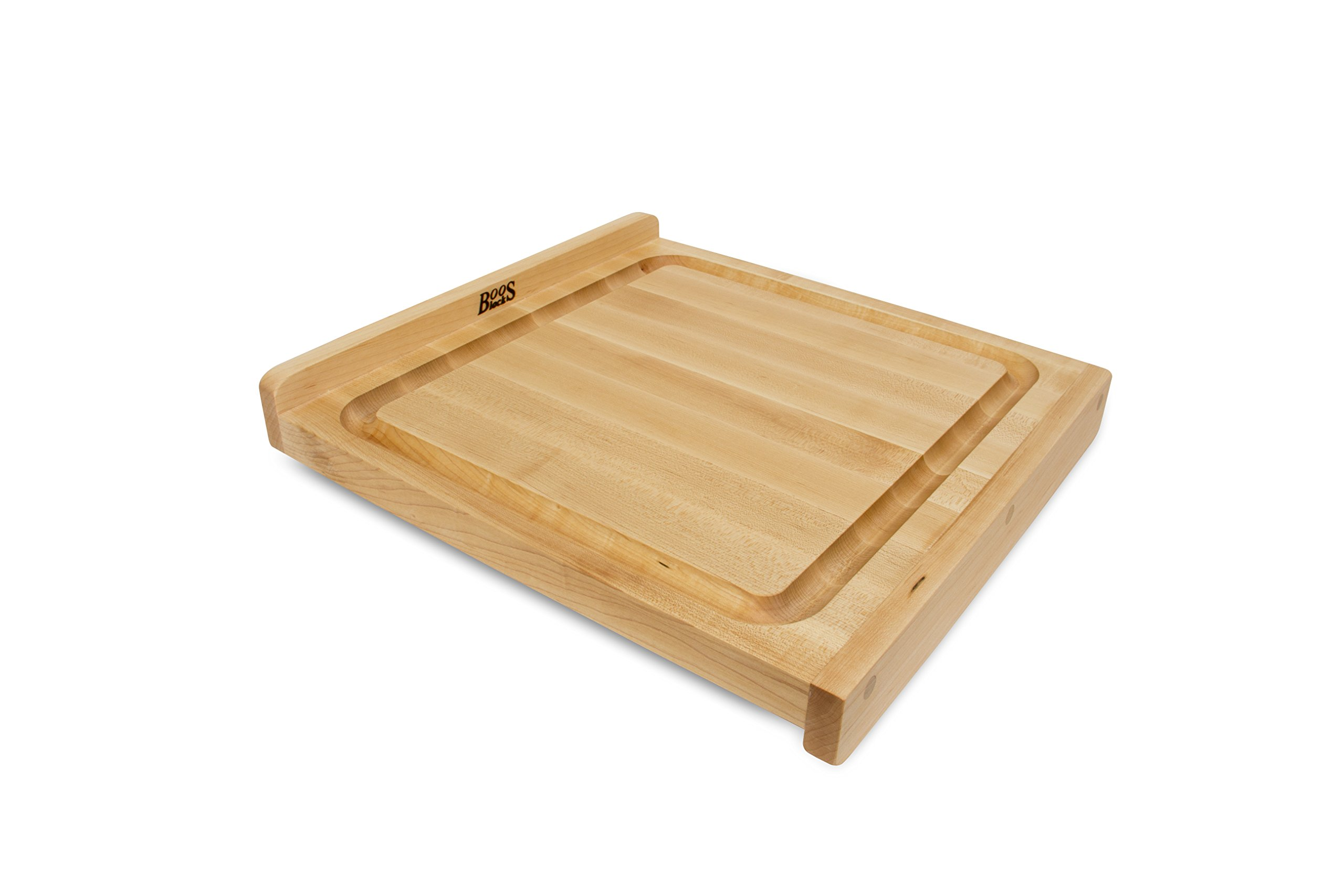 John Boos Countertop Reversible Edge Grain Cutting Board with Gravy Groove, 17.75 Inches x 17.25 Inches x 1.25 Inches